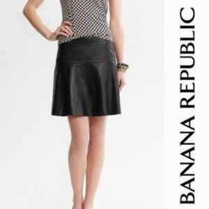 Banana republic leather black fit flare skirt NWT